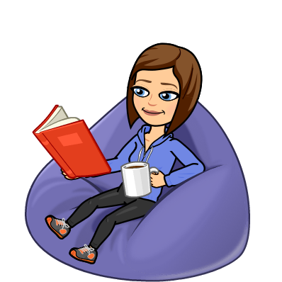 Bitmoji reading book with coffee