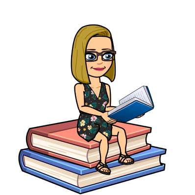 Bitmoji Lady sitting on Books